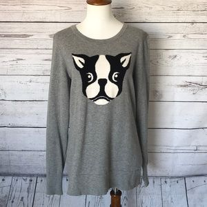 Bass Frenchie Dog Grey Sweater Size Medium